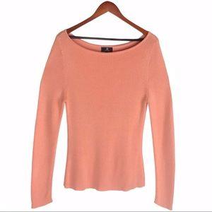 Tumi Pink Ribbed Long Sleeve Knit Sweater